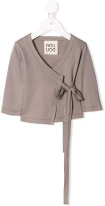 Douuod Kids wrap front jersey blouse