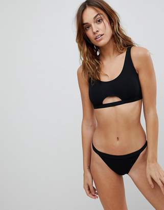 Missguided Ribbed Cut Out Detail Bikini Top