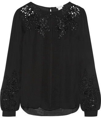 Oscar de la Renta - Broderie Anglaise Silk-chiffon Blouse - Black $2,390 thestylecure.com