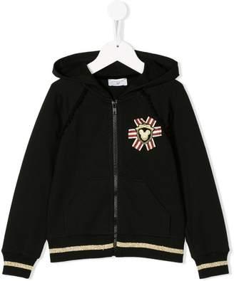 MonnaLisa embroidered zip hoodie