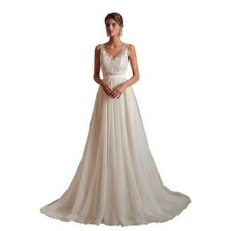 1a62c838d821 Leyidress V Neck Beach Wedding Dress Applique Pearl Court Train Bridal Gown  Long Dress for Women