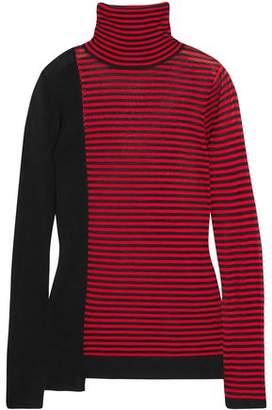 Sonia Rykiel Striped Silk And Cotton-blend Turtleneck Sweater
