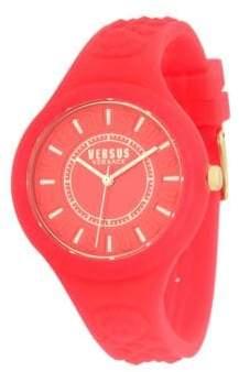 Versace Embossed Quartz Silicone Strap Watch