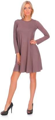 Futuro Fashion Ladies Smart Tunic Dress Crew Neck Long Sleeve Coctail Fashion FM10