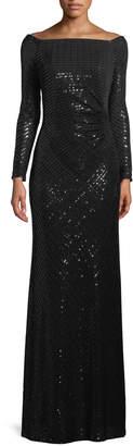 LM Collection Paillette Sequin Off-the-Shoulder Gown