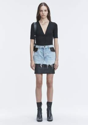 Alexander Wang EXCLUSIVE SHIRRED SHORT SLEEVE BODYSUIT TOP