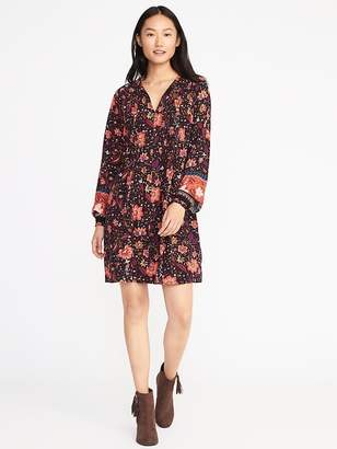 Old Navy Floral Pintuck Swing Dress for Women