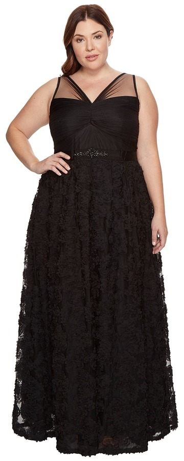Adrianna PapellAdrianna Papell - Plus Size Sleeveless Long Tule Rosette Ball Gown Women's Dress