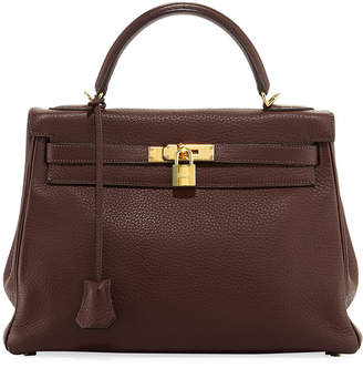 Hermes Kelly 32 Leather Top Handle Bag, Brown