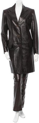 Christian Dior Leather Notched Lapel Pantsuit $290 thestylecure.com