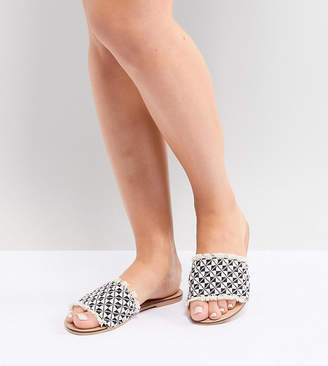 Asos DESIGN Fever Wide Fit Woven Mules