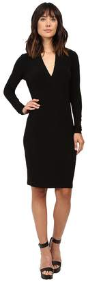 KAMALIKULTURE by Norma Kamali Long Sleeve Modern Side Drape Dress To Knee Women's Dress