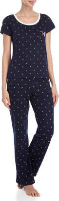 Tommy Hilfiger Two-Piece Heart Print Tee & Pant Pajama Set