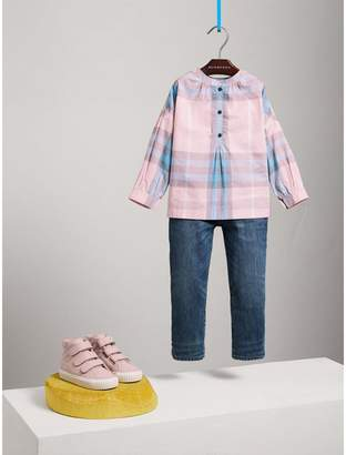 Burberry Gathered Check Cotton Shirt