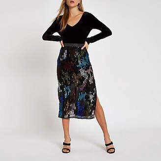 River Island Black multicolored sequin pencil skirt