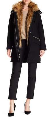 Cole Haan Faux Fur Trimmed Coat