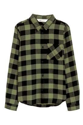 H&M Cotton Flannel Shirt - Green/black plaid - Kids