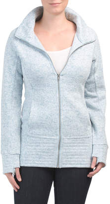 Juniors Fold Neck Zip Front Jacket