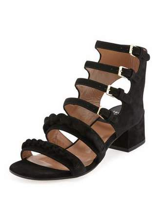 Laurence Dacade Kemo Suede Chain Strappy Sandal, Black $1,250 thestylecure.com