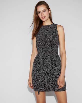 Express Print Sash Waist Sleeveless Shift Dress