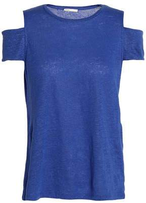 Maje Cold-Shoulder Slub Linen-Jersey Top