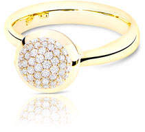Tamara Comolli Bouton 18K Yellow Gold Pave Diamond Ring, Size 7/54