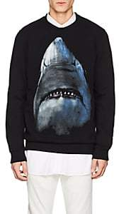 Givenchy Men's Shark-Print Cotton Fleece Cuban-Fit Sweatshirt - Black