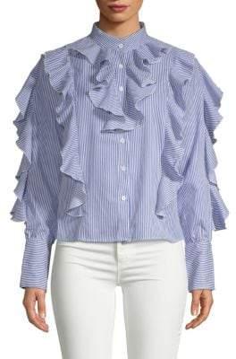 Terri Striped Ruffle Shirt