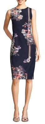 Adrianna Papell Linear Garden-Print Sheath Dress