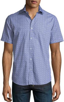 Neiman Marcus Mini Floral Print Short-Sleeve Sport Shirt