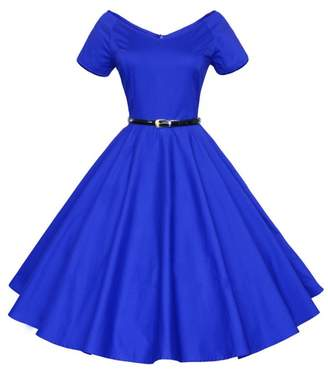 iSherman 50s 60s Vintage Short Sleeves Swing Rockabilly Full Circle Party Dress