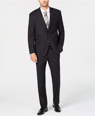 Vince Camuto Men's Slim-Fit Stretch Black Tonal Grid Wool Suit
