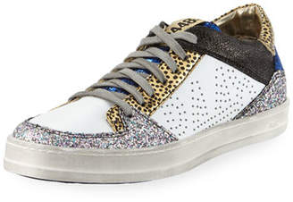 P448 Queens Low-Top Sneakers in Velvet & Glitter