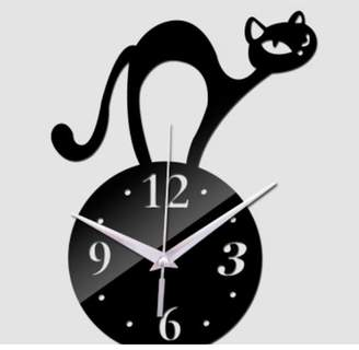 """Creative Motion Work with your hand to create a DIY Acrylic Cat on top of the Clock Design.Product Size: Width: 5.5"""" x Height: 5.5"""" (cat height: 6.5"""")x Depth: 0.7"""""""