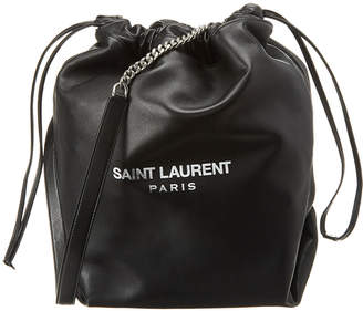 Saint Laurent Teddy Drawstring Leather Bucket Bag