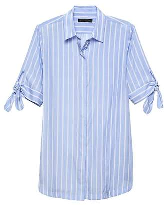 Banana Republic Parker Tunic-Fit Stripe Bow-Cuff Shirt