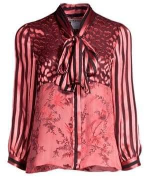 Alice + Olivia Jeannie Sheer Leopard Yoke Stripe Sleeve Tie Neck Blouse