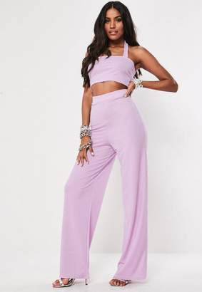 6b48047960f35 Missguided Lilac Halter Neck Crop Top And Wide Leg Trouser Co Ord Set