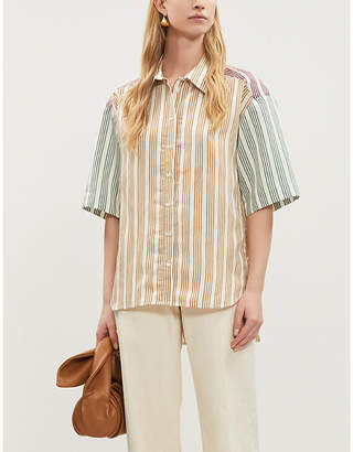 Sandro Striped oversized crepe-satin shirt