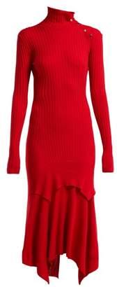 Stella Mccartney - Handkerchief Hem Ribbed Knit Dress - Womens - Red