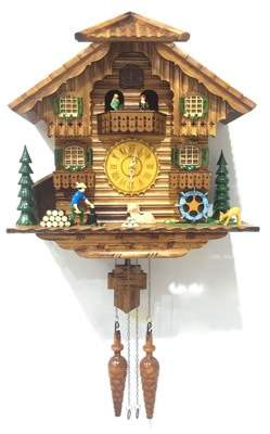ALEKO Handcrafted Wooden Cuckoo Wall Clock Home Art with Chirping Bird and Dancing Townsfolk 14.5 x 15 x 7 Inches - Brown