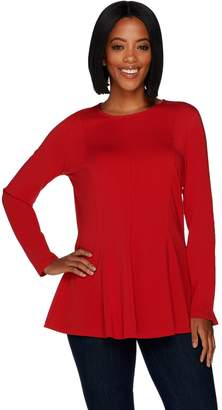 Denim & Co. Long Sleeve Fit and Flare Curved Hem Crew Neck Tunic