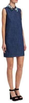 Miu Miu Sequin Collar Denim Shift Dress
