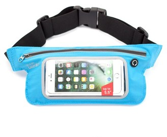 Miami CarryOn Running Workout Fitness Belt Waist Pack, Sweat-Proof for smartphones up to 5.5. Touch Screen Sensitive Access Window, All Waist Sizes (Light Blue)