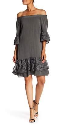 Robbie Bee Puckered 3/4 Sleeve Rayon Dress