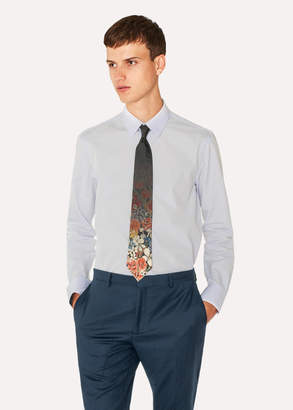 Paul Smith Men's Slim-Fit Light Blue Cotton Shirt With 'Rose' Cuff Lining