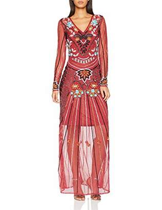 F&F Frock and Frill Women's Embellished Maxi Dress Party (Persian Red Ff), 8