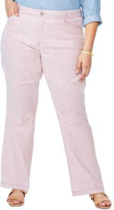NYDJ Stripe Linen & Cotton Trousers