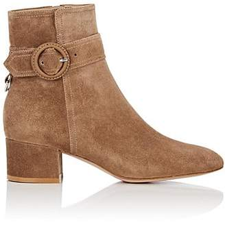 Gianvito Rossi Women's Buckle-Detailed Suede Ankle Boots - Lt. brown
