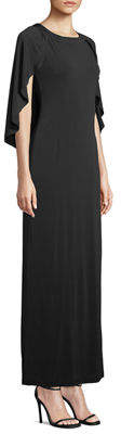 Melissa Masse Caped Luxe-Jersey Maxi Dress